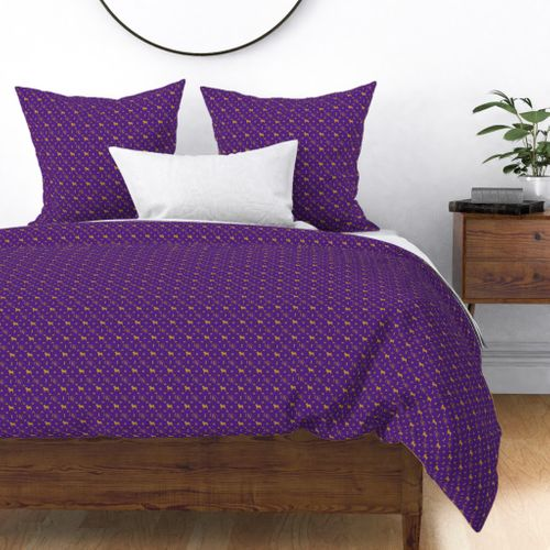 WKC Pugs on Purple and Gold Duvet Cover