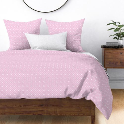 Louis Pug Face Luxury Dog Pattern in White on Princess Pink Duvet Cover