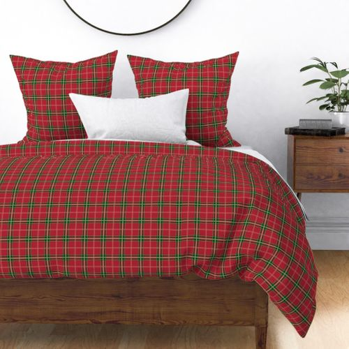 Christmas Berry Red and Green Tartan with Beige and White Lineswith Double White Lines Duvet Cover