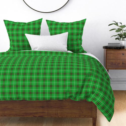 Christmas Holly Green and Evergreen Tartan with Red and White Lines Duvet Cover