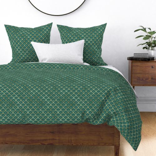 Teal and Gold Vintage Art Deco Dotted Scales Pattern Duvet Cover