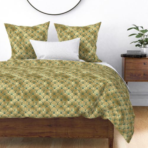 Teal and Gold Vintage Art Deco Scallop Shell Pattern Duvet Cover