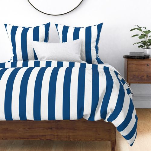 """Classic Blue and White Circus Big Top 3"""" Vertical Stripes Duvet Cover"""