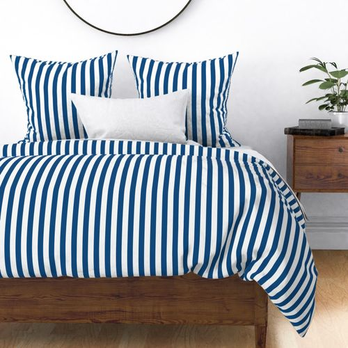 "Classic Blue and White Vertical Cabana Tent 1"" Stripes Duvet Cover"