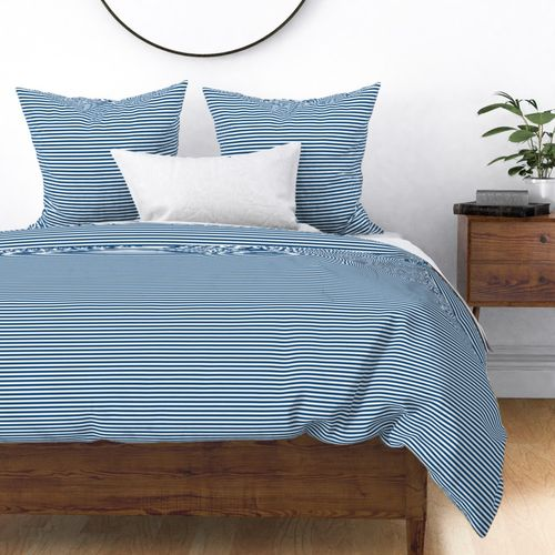 Narrow Horizontal ¼ inch Sailor stripes in Classic Blue and White Duvet Cover