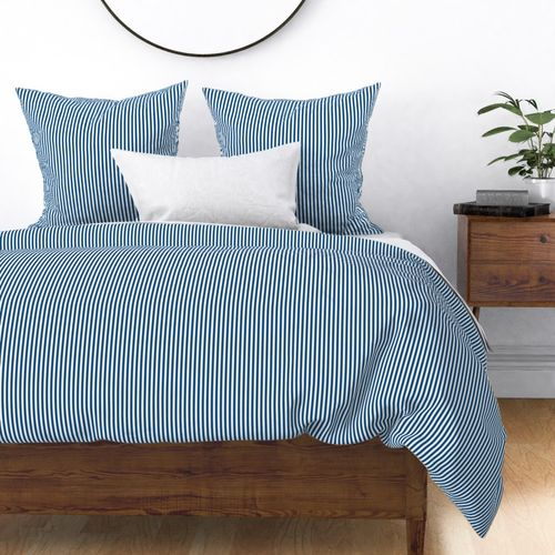 Narrow Vertical  ¼ inch Sailor Stripes in Classic Blue and White Duvet Cover