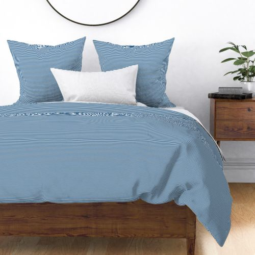 Classic Blue and White 1/8-inch Thin Pencil Horizontal Stripes Duvet Cover