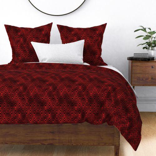 Diamond Chevrons in Black and Ruby Red Vintage Faux Foil Art Deco Vintage Foil Pattern Duvet Cover