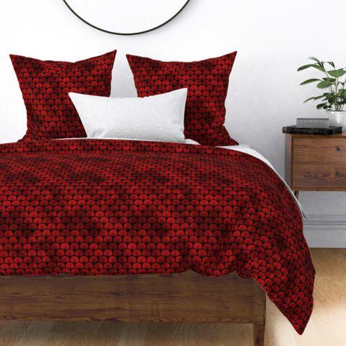 Fan Palms in Black and Ruby Red Faux Foil Art Deco Vintage Foil Pattern Duvet Cover