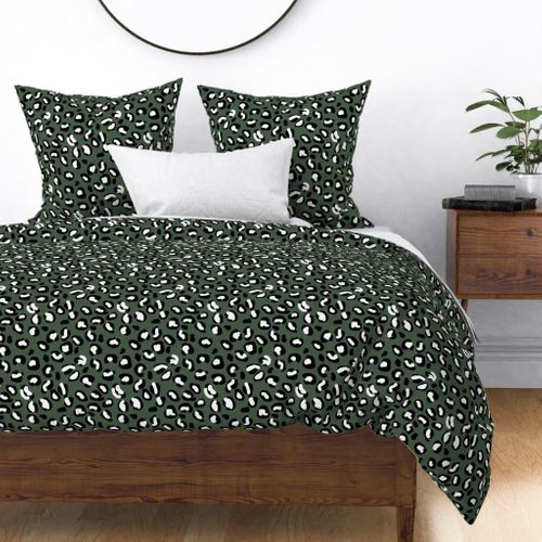 Leopard White Spots on Army Green Duvet Cover