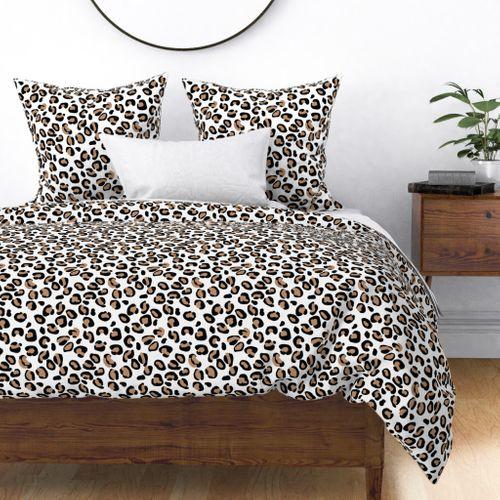 Leopard Tan Spots on Broken White Duvet Cover
