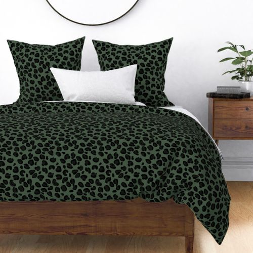 Leopard Boot Green Spots on Army Green Duvet Cover