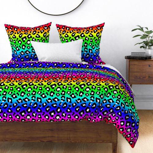 Neon Ombre Rainbow Leopard Spots Duvet Cover
