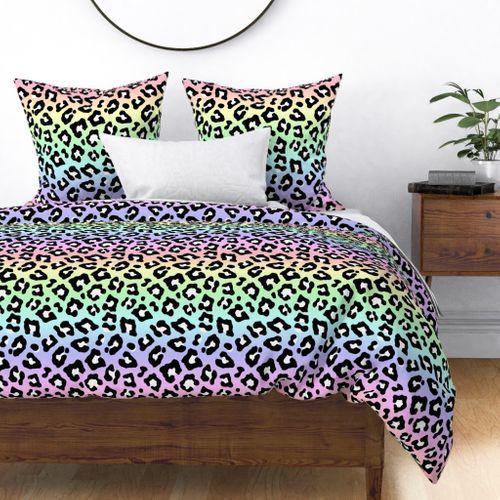 Pastel Ombre Rainbow Leopard Spots Duvet Cover