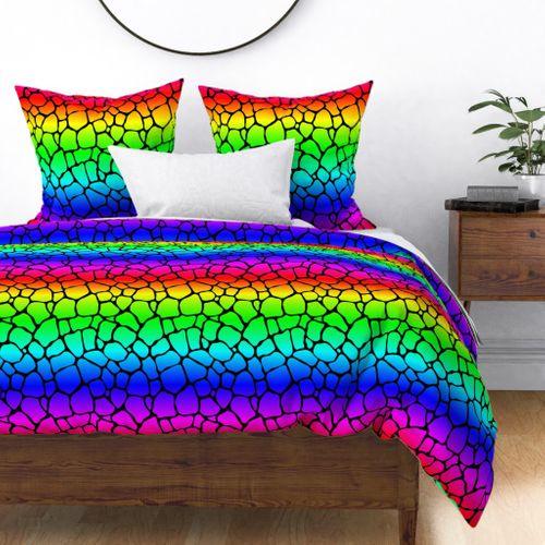 Neon Rainbow Giraffe Hide Animal Print Duvet Cover