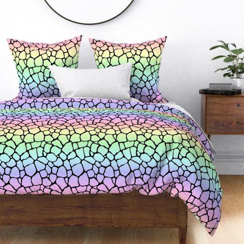 Pastel Rainbow Giraffe Hide Animal Print Duvet Cover