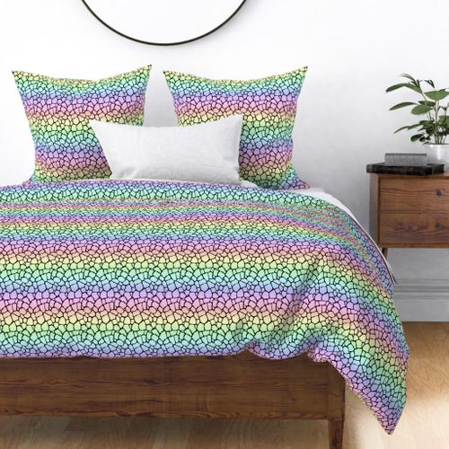 Small Pastel Rainbow Giraffe Hide Animal Print Duvet Cover