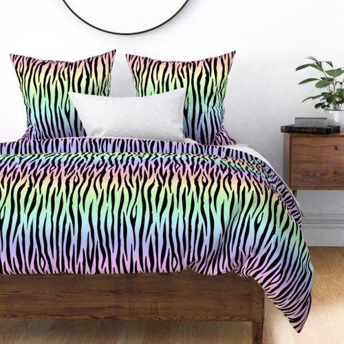 Large Pastel Rainbow Zebra Stripes Animal Print Duvet Cover