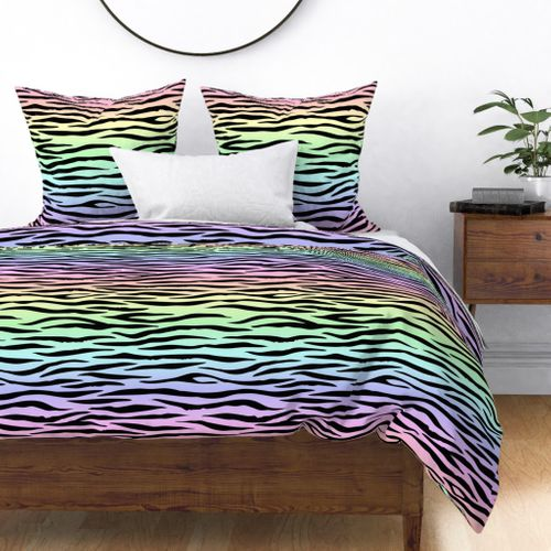 Pastel Rainbow Zebra Stripes Animal Print Duvet Cover