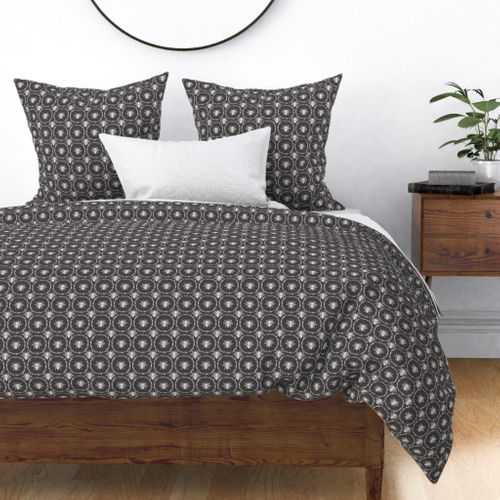 Bees Wreathed in White on Charcoal Grey Duvet Cover