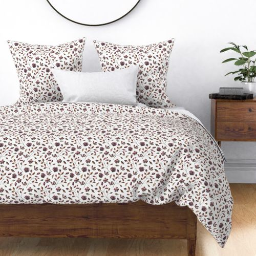 Woodsy Watercolor Wine and Moss Flowers and Vines Duvet Cover