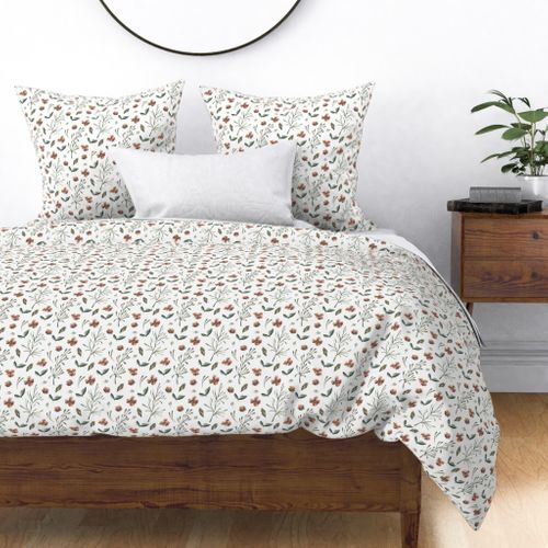 Woodsy Watercolor Sienna and Moss Flowers and Vines Duvet Cover