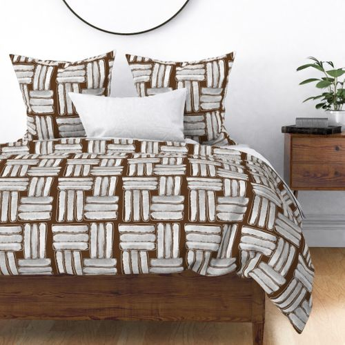 Kapa Sticks in Chalky White on Coco Brown Duvet Cover