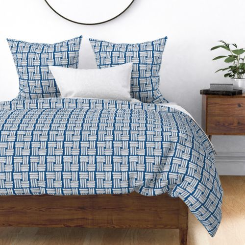 Small Kapa Sticks in Chalky White on Classic Blue Duvet Cover
