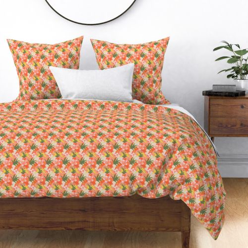 Tiny Coral Hibiscus Floral Abstract Seamless Repeat Pattern Duvet Cover