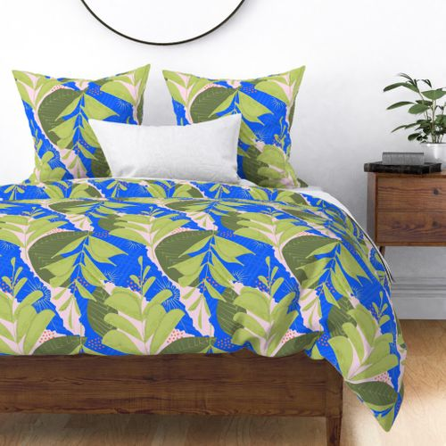 Large Green Fern Abstract Seamless Repeat Pattern Duvet Cover