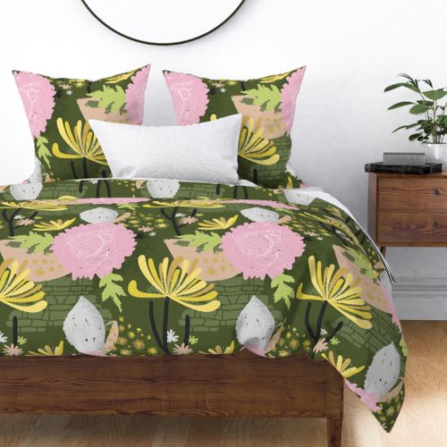 Large Yellow Chrysanthemum Abstract Seamless Repeat Pattern Duvet Cover