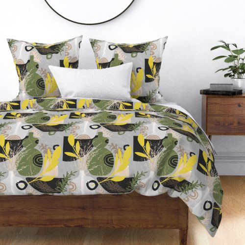 Large Green and Yellow Herbs Abstract Seamless Repeat Pattern Duvet Cover