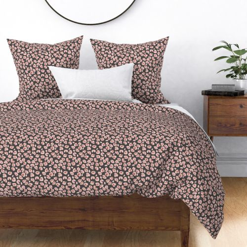 Leopard Charcoal with Rose Gold Spots Duvet Cover