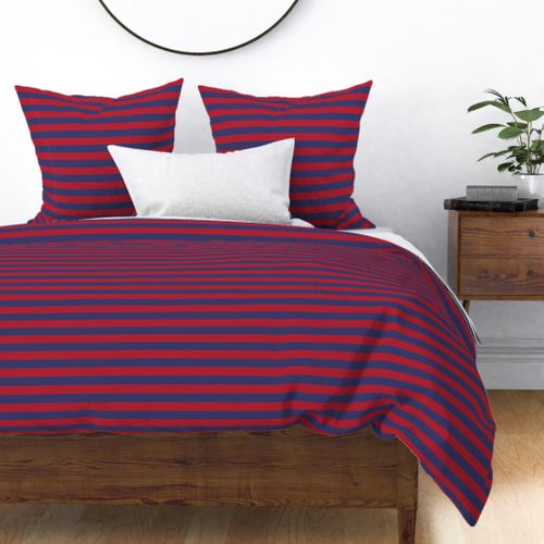 Red and Blue USA American Flag Horizontal Stripes Duvet Cover