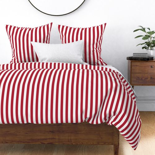USA Vertical Flag Red and White Stripes Duvet Cover