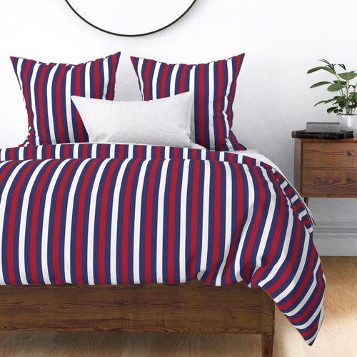USA Flag Alternating Horizontal Blue with Red and White Stripes Duvet Cover