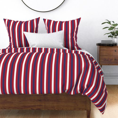 USA Flag Alternating Vertical Red and Blue with White Stripes Duvet Cover