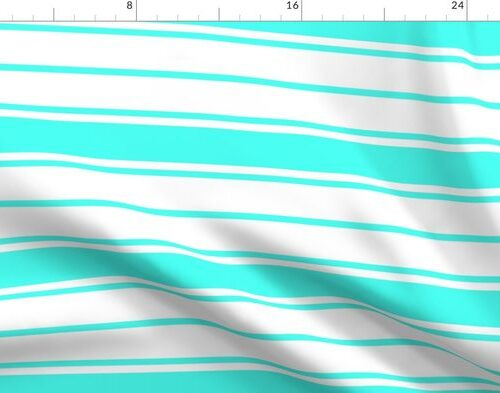 Art Deco Aqua and White Horizontal French Stripe