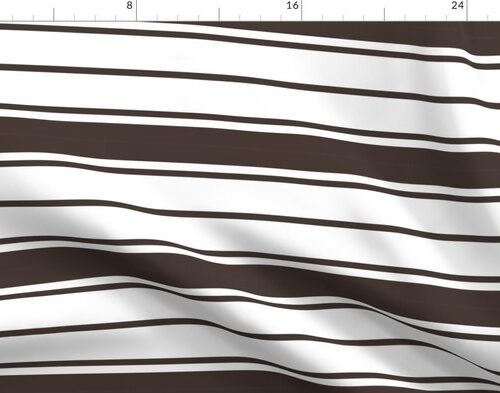 Brown and White Horizontal French Stripe