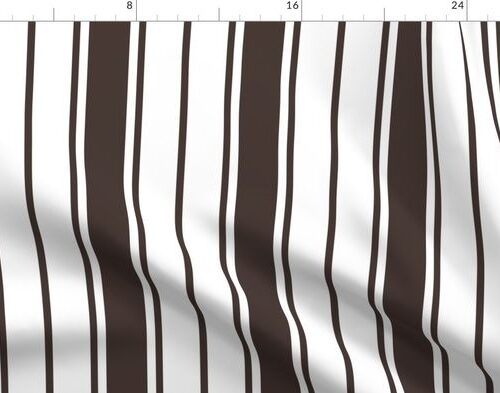 Brown and White Vertical French Stripe
