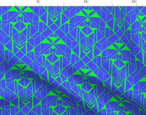 Electric Blue and Lime Green Large Vintage Art Deco Geometric Linear Repeat Pattern