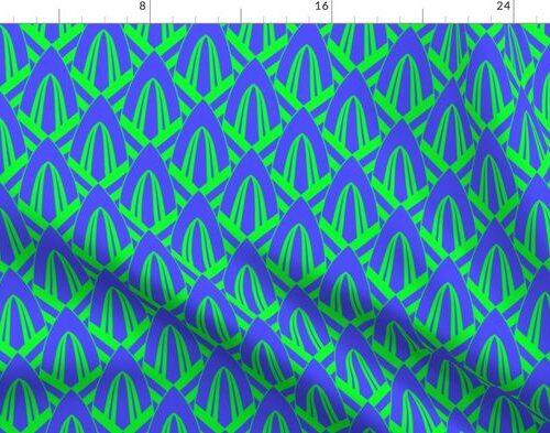 Electric Blue and Lime Green Small Retro Vintage Art Deco Geometric Cross-Hatched Cone Pattern