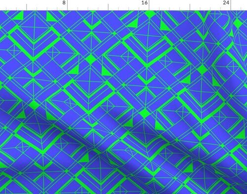 Electric Blue and Lime Green Small Vintage Art Deco Geometric Linear Repeat Pattern