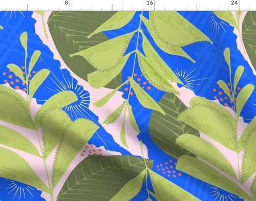 Large Green Fern Abstract Seamless Repeat Pattern