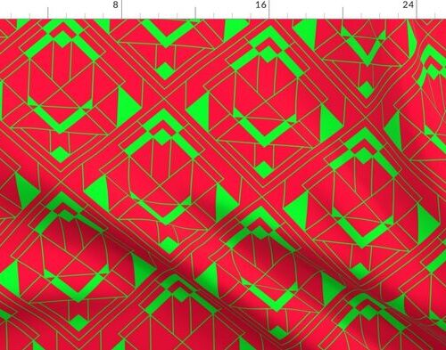 Large Neon Fire Red and Lime Green Large Neon Art Deco Geometric Triangle Pattern
