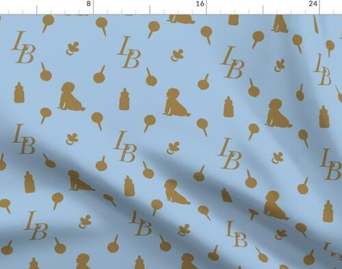 Louis Baby Luxury Iconic Monogram Pattern on Classic Blue with Tan Motifs