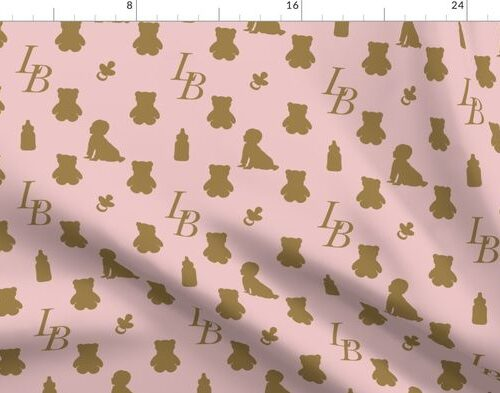 Louis Baby Luxury Iconic Monogram Pattern on Classic Pink with Tan Motifs