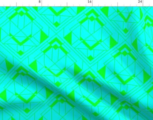 Neon Aqua and Lime Green Large Neon Art Deco Geometric Triangle Pattern