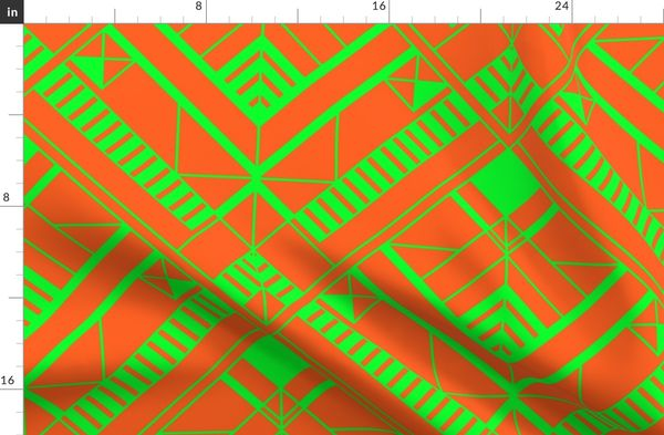 Neon Attack Orange and Lime Green Large Neon Art Deco Geometric Triangle Pattern