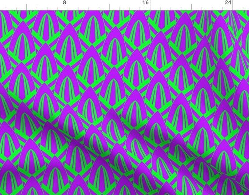 Neon Ultraviolet Purple and Lime Green Small Neon Art Deco Geometric Triangle Pattern